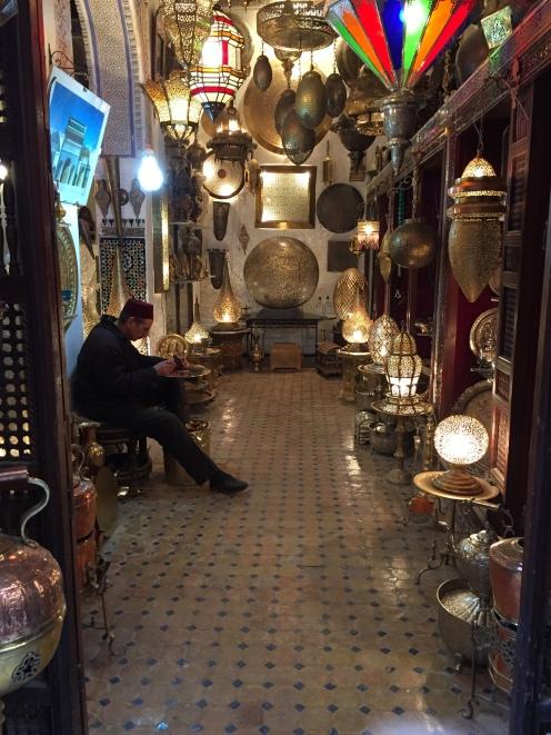 A beautiful light shop in Fez