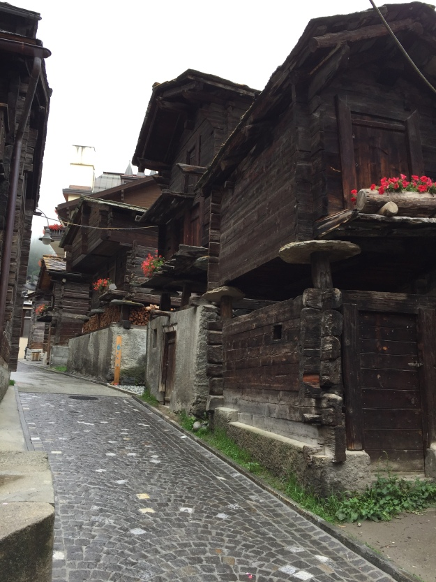 old town of Zermatt. Most of these houses are unoccupied as they are in the process of renovation.