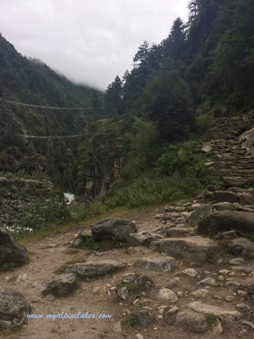 Two hanging bridges up high in the canyon