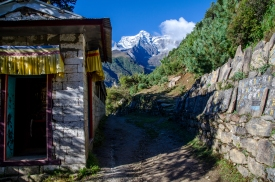 Looking back at Kongde Ri from a monastery in Namche