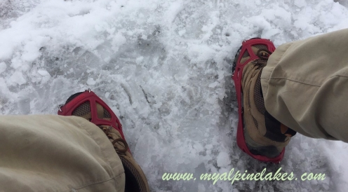 we were really glad to have packed the spikes when we got to the glacier on Cho La pass