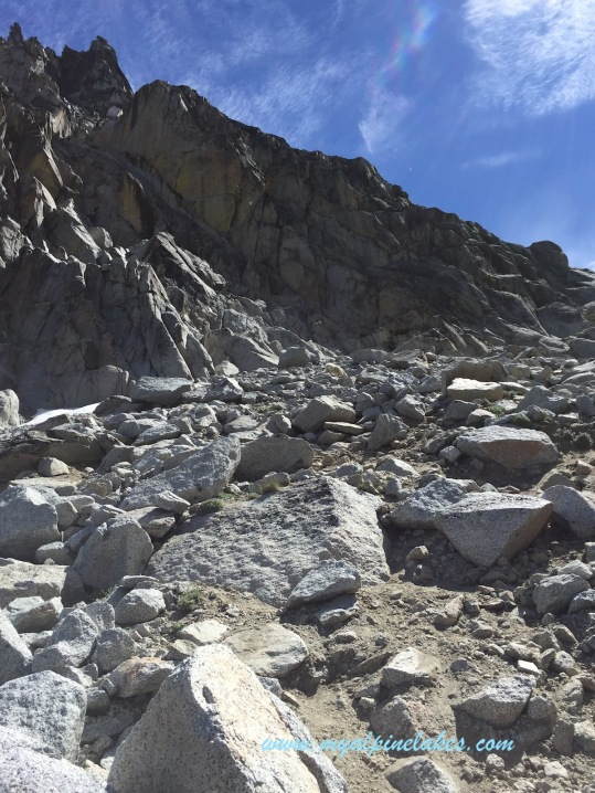 A steep and rocky climb.