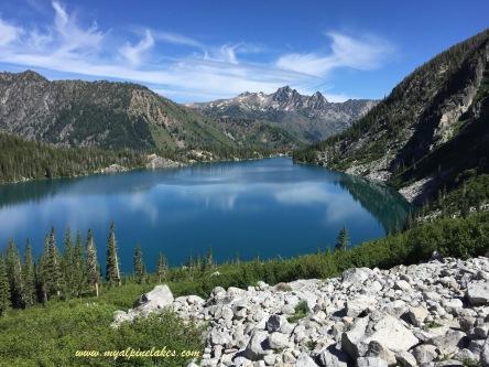 Starting on Aasgard Pass climb and looking back at Colchuck Lake