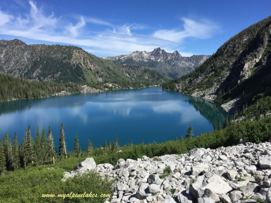 Starting on Aasgard Pass climb and looking back at Colchuck Lake