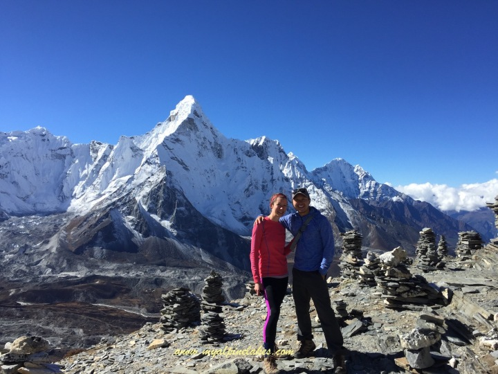 Posing in front of Ama Dablam