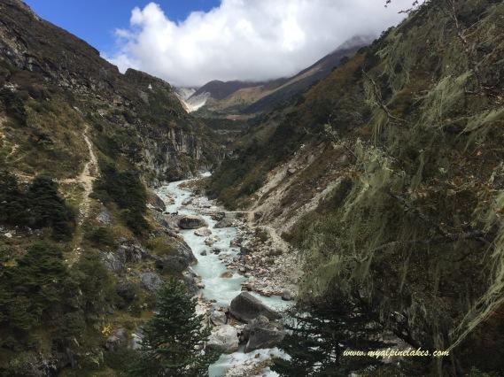 Follow a river down the mountain