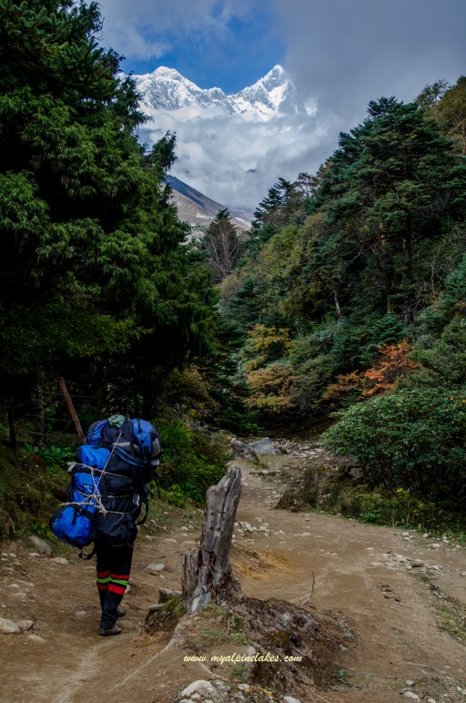 Looking back at Lhotse and Everest from Tengboche