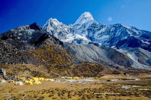 This is it: Ama Dablam Base Camp, a little tent city.