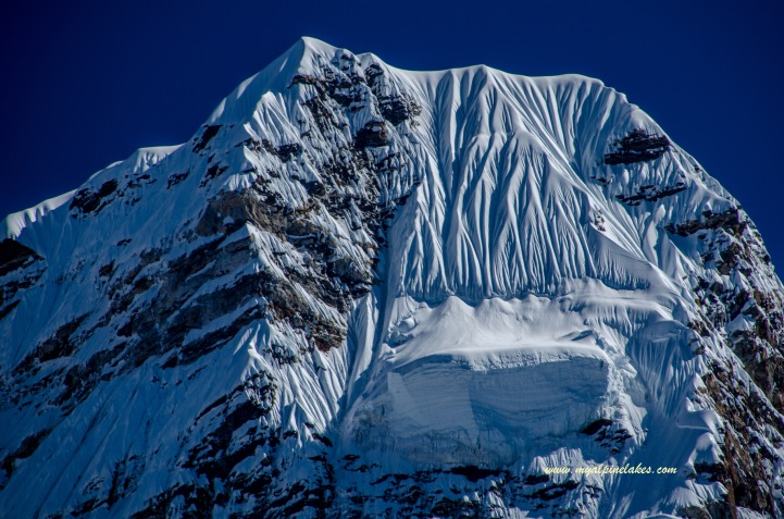 A close up of the peak
