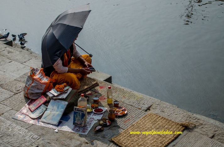 A sadhu sitting at the river side