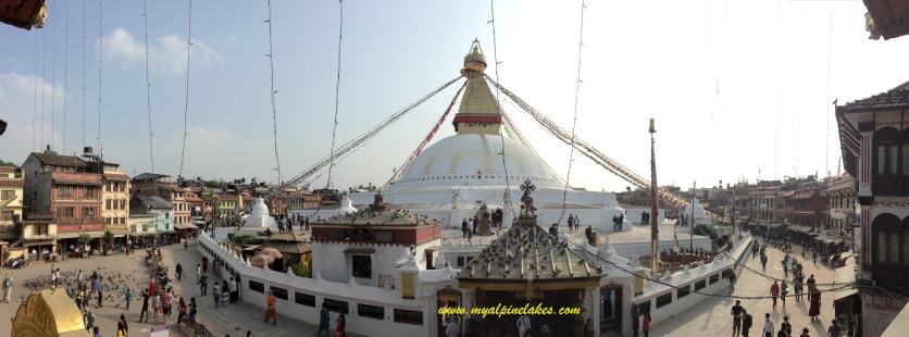 Boudhanath in a panoramic view
