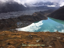 Gokyo lake is perfectly still like a mirror on the ground.