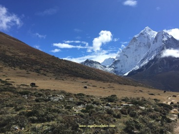 Our last view of Ama Dablam that day. Clouds closed in quickly around noon.