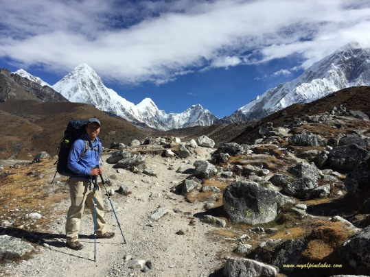 Looking back at Pumori, Lintren, Everest and Lhotse. It was only yesterday when I stood among the giants.
