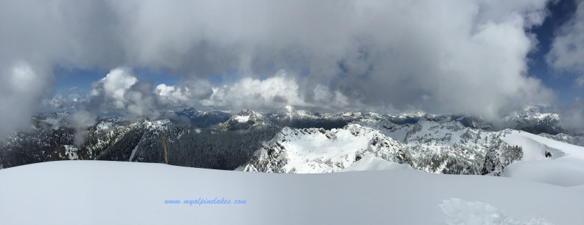 Looking east from the top of Mt Dickerman to Sloan peaks and glaciers.