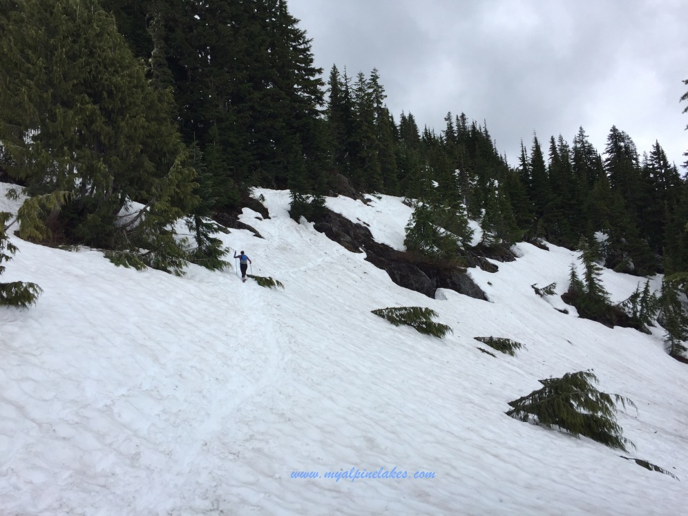 a long and slipper traverse on the side of a slope