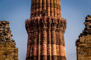 Qutb Minar with its intricate patterns carved into the tower