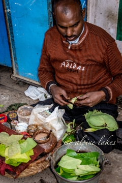 Man and his betel nuts on a street corner. He probably doesn't know that he is raising rate of oral cancer in India.