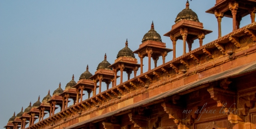 cool domes lined up on top of Jama mosque