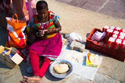 Woman and her... well, not sure what she was selling.. street food?