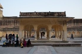 families gathered at the square in the middle of the castle in Jaipur