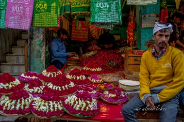 Flower vendor outside the shrine in Ajmer.