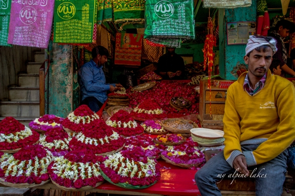 Flower vendor outside the shrine in Ajmer.