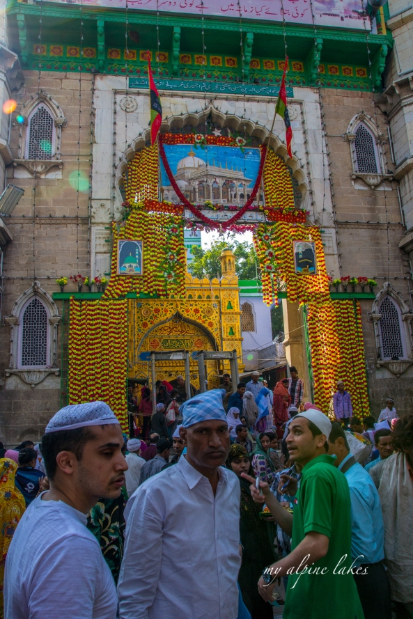 Entrance to Ajmer Sharif. Make sure your legs are covered, your feet are bare, your camera... definitely not allowed.