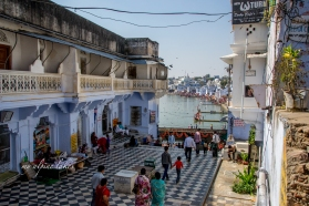 Elaborate flooring pattern leading to an entrance to a bathing ghat in Pushkar.