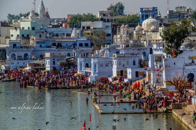 Crowded public bath in Pushkar.