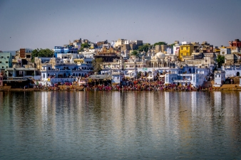 Colorful reflections of Pushkar bathing ghats