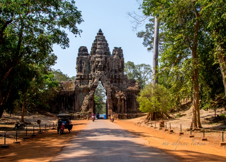 A gate that marked one of the entrances to Angkor Wat. It's is so narrow that two normal sedans side by side cannot go through at the same time. It becomes a real bottleneck at peak tourist hours.