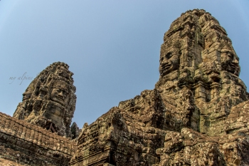 Faces up high on the towers.