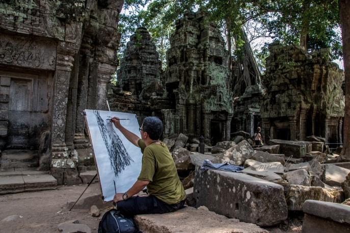 An artist's rendition of fallen walls and overgrown vegetation in Angkor Wat