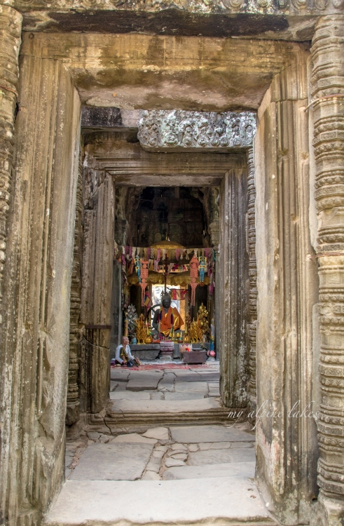 A buddha well decorated by worshipers