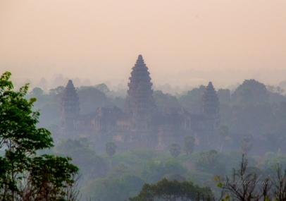 Looking down at Angkor Wat from Bakheng temple at sunrise