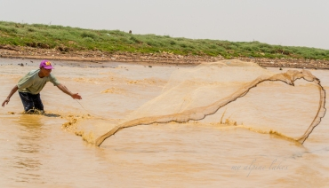 A fisherman expertly casting his net in Tonle Sap Lake