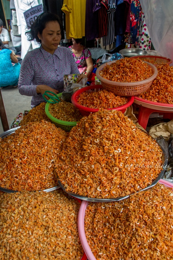 Dried shrimp are plentiful in this part of the world. They look and smell really good.