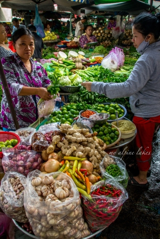 Local produce market in Ho Chi Minh city.