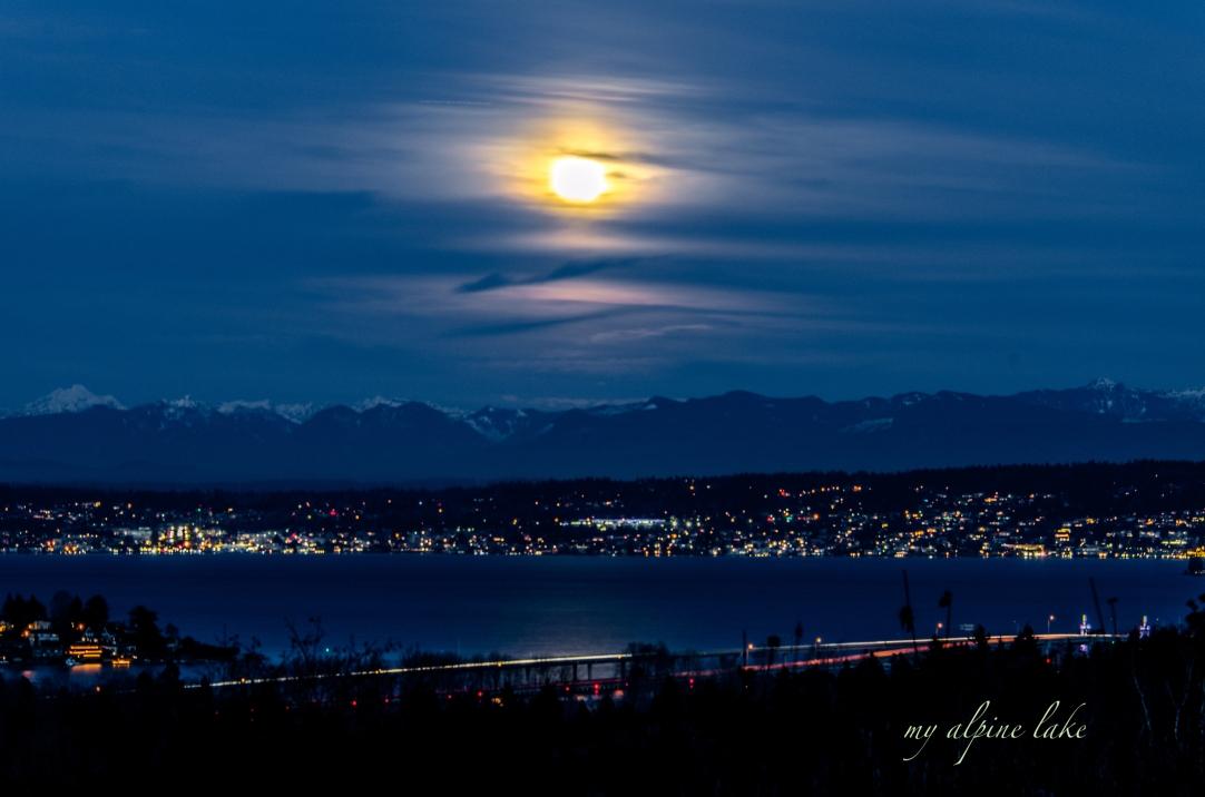 Full moon over Lake Washington