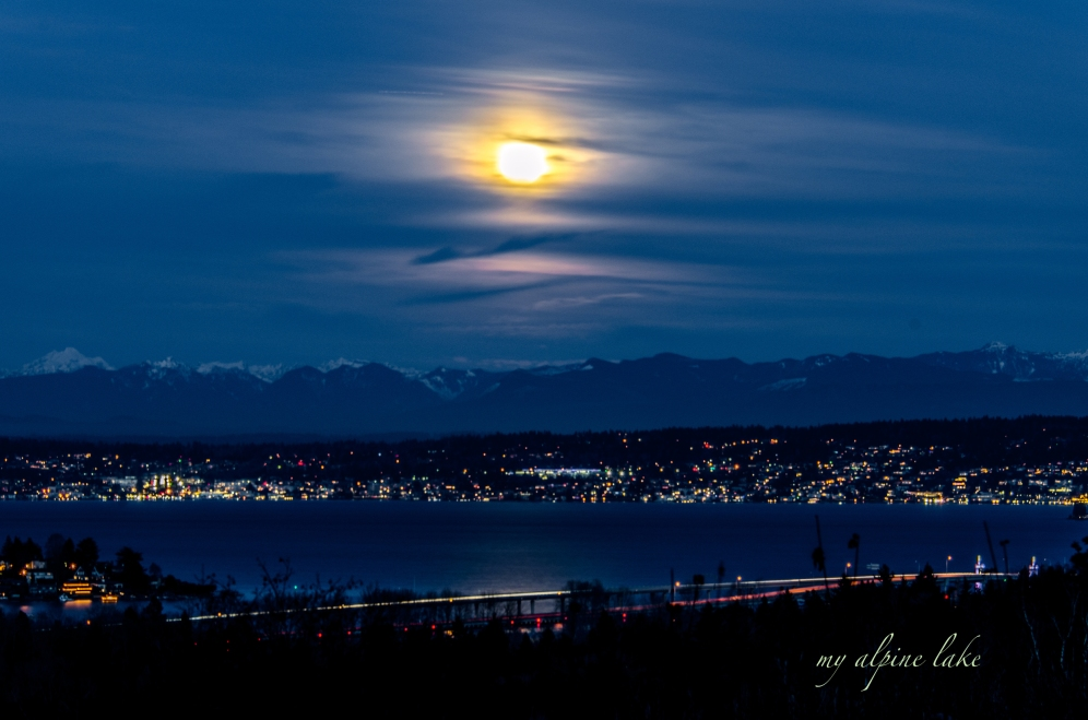 Full moon over Lake Washington