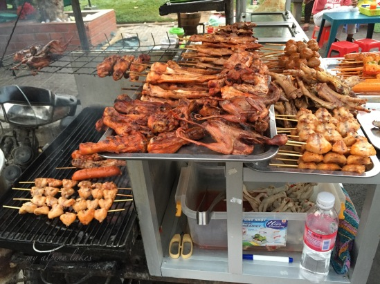 Grilled meat at the evening street food stand.