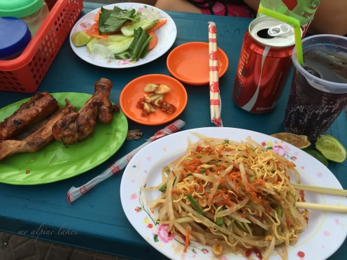 I ended up with some skewers and papaya salad. Dangerous move to have raw vegetables, but I could not resist it.