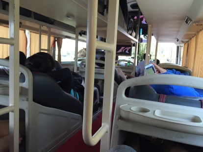 A sleeper bus in Vietnam. I had to remove my shoes and put in a plastic bag which they provided before boarding the bus. The sleeper space is just long enough to fit me if I kept my knees bent.