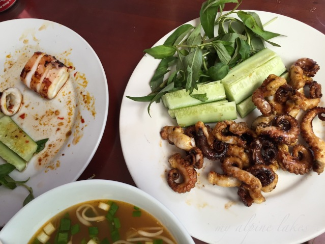 Freshly grilled seafood and a good bowl of pho.