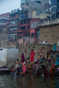 People are preparing for a bath in Ganges.