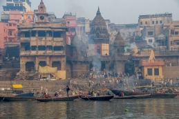 A burning ghat where bodies are cremated.