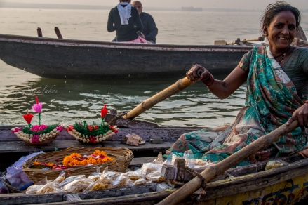 A flower vendor on Ganges