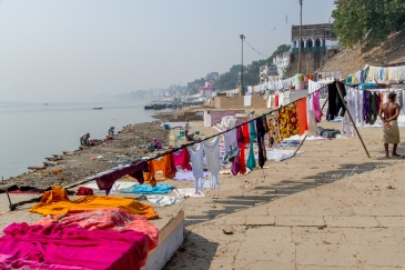 Sunny days are best for clothes drying along the river bank.