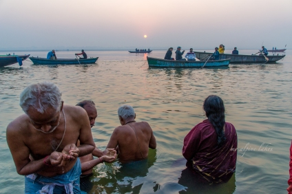 People in their morning rituals as the sun climbed above the horizon.